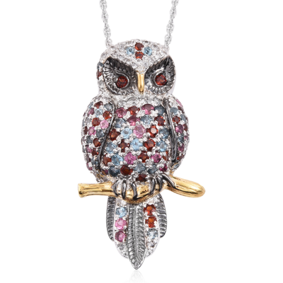 Multi Gemstone Owl Pendant Necklace in Platinum over Sterling Silver Gemstone Collectors U.S.