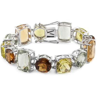 Multi Quartz Bracelet in Platinum over Sterling Silver 80.00ctw Gemstone Collectors U.S.