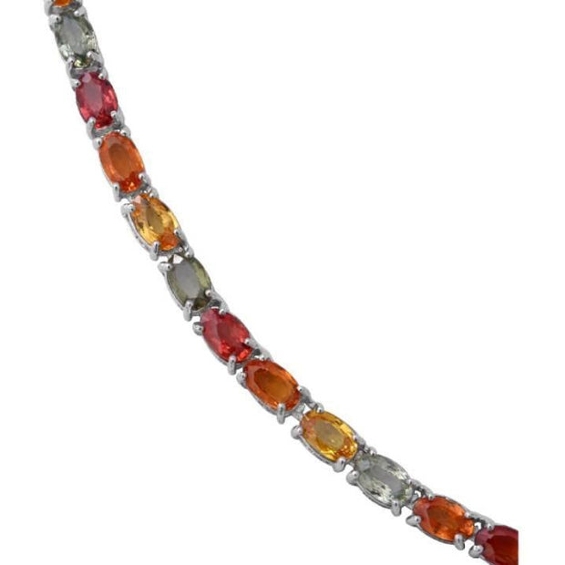 "Multi Sapphire Tennis Necklace (18"") in Platinum over 925 Sterling Silver Gemstone Collectors U.S."