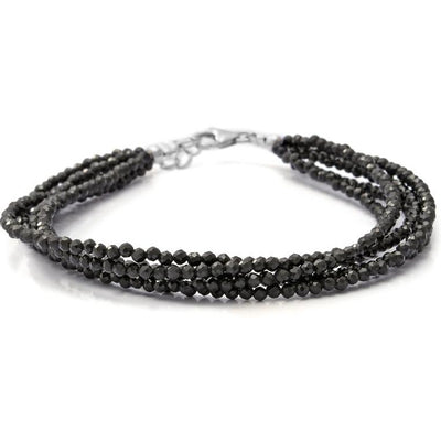 Multi Strand Black Spinel Bracelet in Platinum over Sterling Silver Gemstone Collectors U.S.