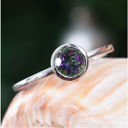Mystic Topaz Solitaire Bezel Ring in Platinum over Sterling Silver Gemstone Collectors U.S.