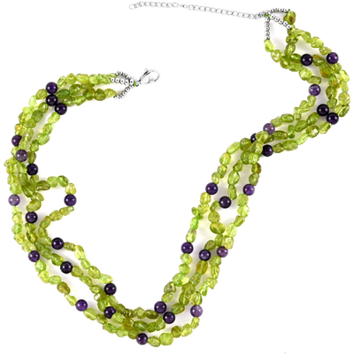 Natural Amethyst & Peridot Beaded Necklace in Stainless Steel Gemstone Collectors U.S.