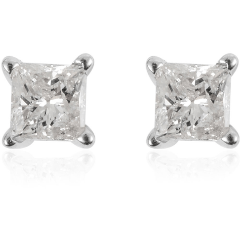 Natural White Diamond Princess cut Stud Earrings, solid 14K White Gold 0.25ctw Gemstone Collectors U.S.