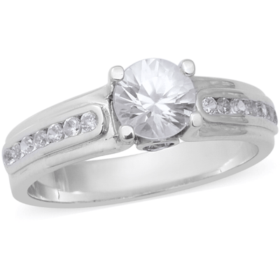 Natural White Zircon Ring in Platinum over Sterling Silver Gemstone Collectors U.S.