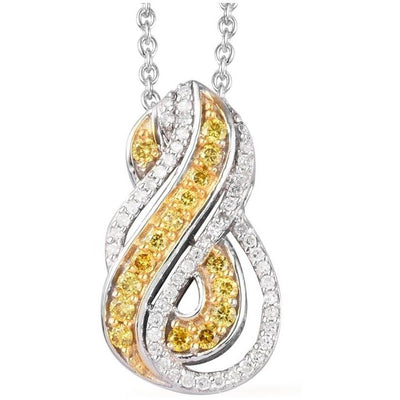 Natural Yellow Diamond & White Diamond Necklace in Platinum over Sterling Silver Gemstone Collectors U.S.