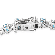 "Neon Apatite & White Topaz Bracelet in Platinum over Sterling Silver 7.25"" 9.40ctw. Gemstone Collectors U.S."