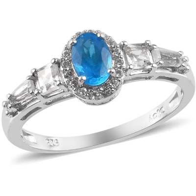Neon Blue Apatite & White Topaz Ring in Platinum over Sterling Silver Gemstone Collectors U.S.