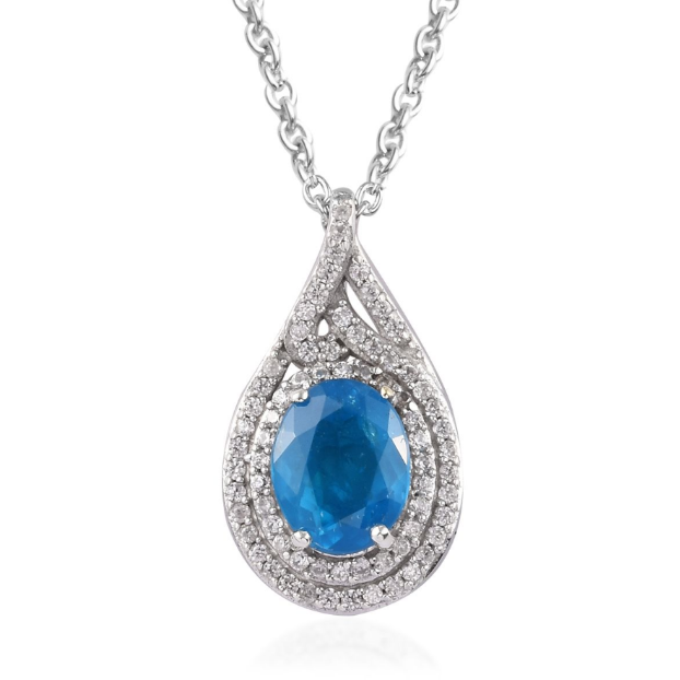 "Neon Blue Apatite & Zircon Pendant Necklace 20"" in Platinum over Sterling Silver Gemstone Collectors U.S."