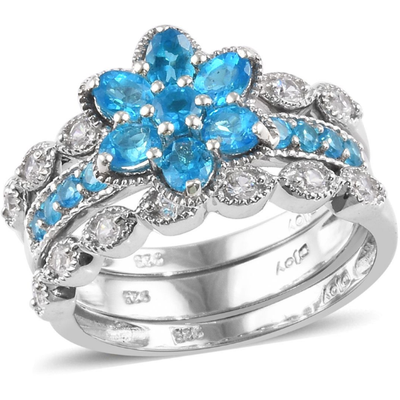 Neon Blue Apatite & Zircon Stackable 3-Ring Set, in Platinum over Sterling Silver Gemstone Collectors U.S.