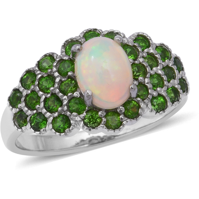 Opal & Chrome Diopside Cluster Ring in Platinum over Sterling Silver Gemstone Collectors U.S.
