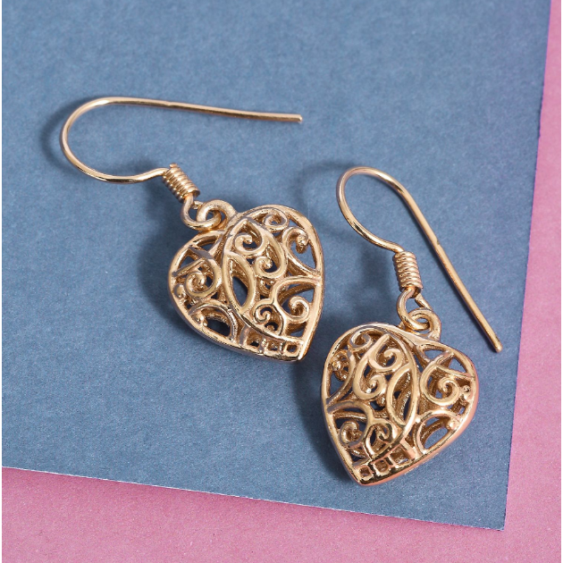 Openwork Heart Earrings in 14K Yellow Gold over Sterling Silver Gemstone Collectors U.S.