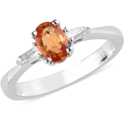 Orange Sapphire & White Topaz Ring in Platinum over Sterling Silver Gemstone Collectors U.S.
