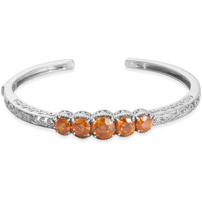 "Orange Sphalerite Cuff Bracelet in Platinum over Sterling Silver (7.25"") Gemstone Collectors U.S."