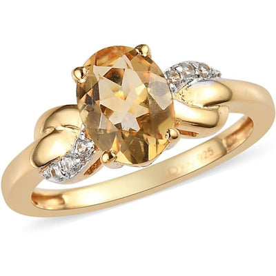 Oval Brazilian Citrine Infinity Ring with Natural White Zircon in 14K Yellow Gold over Sterling Silver Gemstone Collectors U.S.