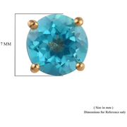 Paraiba Color Topaz Round Stud Earrings in Yellow Gold over Sterling Silver Gemstone Collectors U.S.