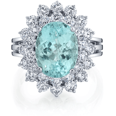 Paraiba Tourmaline & Diamond Double Halo, 14k White Gold Ring 5.92ctw Gemstone Collectors U.S.