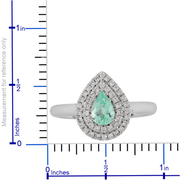Paraiba Tourmaline & Diamond Double Halo Pear Shape Ring in 18K White Gold Gemstone Collectors U.S.