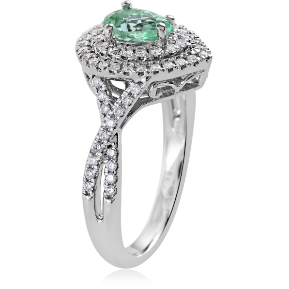 Paraiba Tourmaline & Diamond Halo Ring in 18K White Gold Gemstone Collectors U.S.