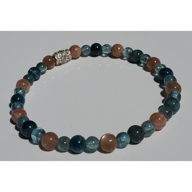 Peach Moonstone and Blue Apatite Energy Healing Bracelet Mindful Creations by Gloria
