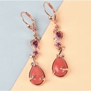 Peach Opal & Rhodolite Garnet Earrings in Rose Gold over Sterling Silver Gemstone Collectors U.S.