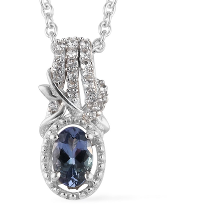 Peacock Tanzanite & White Zircon Necklace in Platinum over Sterling Silver Gemstone Collectors U.S.