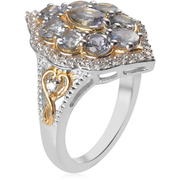 Peacock Tanzanite & Zircon Cluster Ring in Yellow Gold and Platinum over Sterling Silver Gemstone Collectors U.S.