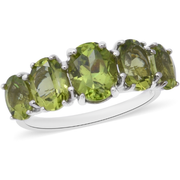Peridot 5 Stone Ring in Platinum over Sterling Silver Gemstone Collectors U.S.