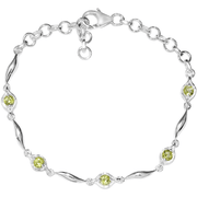 "Peridot Bracelet in Platinum over Sterling SIlver 7.25"" Gemstone Collectors U.S."