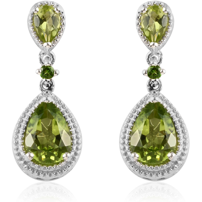 Peridot & Chrome Diopside Dangle Earrings in Platinum over Sterling Silver Gemstone Collectors U.S.
