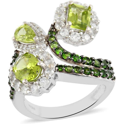 Peridot, Chrome Diopside & White Zircon Ring in Platinum over Sterling Silver Gemstone Collectors U.S.