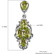 Peridot Cluster Dangle Earrings in Platinum over Sterling Silver Gemstone Collectors U.S.