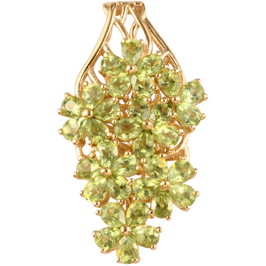 Peridot Cluster Pendant in Yellow Gold over Sterling Silver Gemstone Collectors U.S.