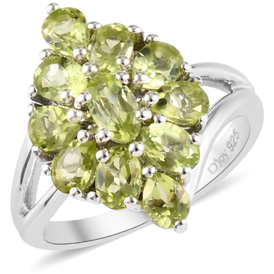 Peridot Cluster Ring in Platinum over Sterling Silver Gemstone Collectors U.S.