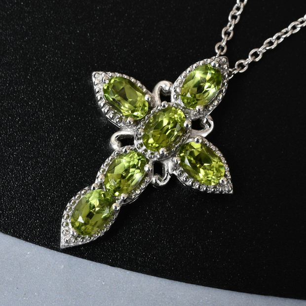 "Peridot Cross Pendant Necklace 20"" in Platinum over Sterling Silver Gemstone Collectors U.S."