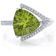 Peridot & Diamond Designer Ring in 14k White Gold Gemstone Collectors U.S.