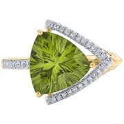 Peridot & Diamond Designer Ring in 14k Yellow Gold Gemstone Collectors U.S.