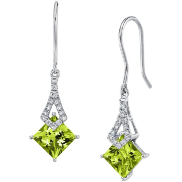 Peridot & Diamond Earrings In 14K White Gold Gemstone Collectors U.S.