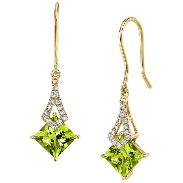 Peridot & Diamond Earrings In 14K Yellow Gold Gemstone Collectors U.S.