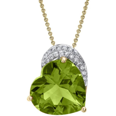 Peridot & Diamond Heart Pendant Necklace in 14k Yellow Gold Gemstone Collectors U.S.