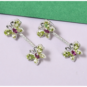 Peridot & Rhodolite Garnet Butterfly Earrings in Platinum over Sterling Silver Gemstone Collectors U.S.