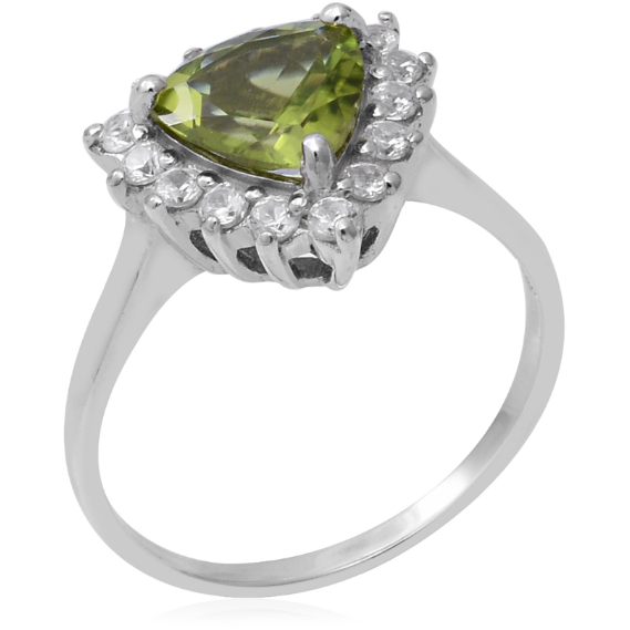 Peridot Trillion & White Zircon Halo Ring in Platinum over Sterling Silver Gemstone Collectors U.S.