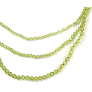 "Peridot Triple Strand Beaded Adj. Necklace 18"" in Sterling Silver Gemstone Collectors U.S."