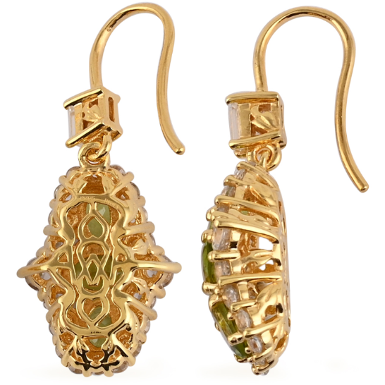 Peridot & White Zircon Dangle Earrings in 14K Yellow Gold over Sterling Silver Gemstone Collectors U.S.