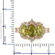Peridot & White Zircon Ring in 14K Yellow Gold over Sterling Silver Gemstone Collectors U.S.