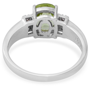 Peridot & White Zircon Ring in Platinum over Sterling Silver Gemstone Collectors U.S.
