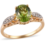 Peridot & White Zircon Ring in Yellow Gold over Sterling Silver Gemstone Collectors U.S.
