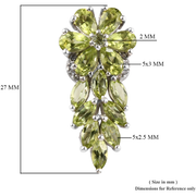 Peridot & Zircon Cluster Drop Earrings in Platinum over Sterling Silver Gemstone Collectors U.S.