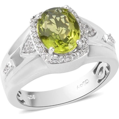 Peridot & Zircon Men's Halo Ring in Platinum over Sterling Silver Gemstone Collectors U.S.