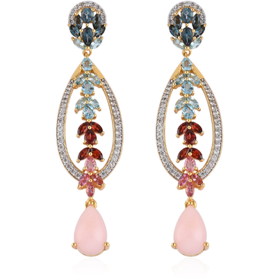 Peruvian Pink Opal & Multi Gemstone Dangle Earrings in 14K Yellow Gold over Sterling Silver Gemstone Collectors U.S.