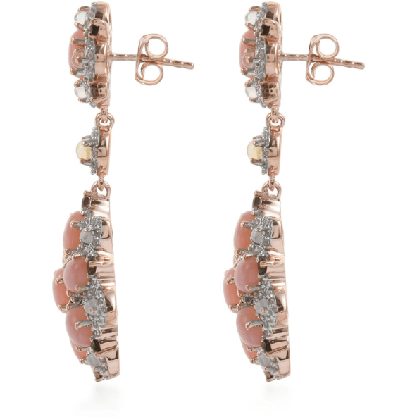 Peruvian Pink Opal, Multi Gemstone Earrings in 14K Rose Gold over Sterling Silver Gemstone Collectors U.S.